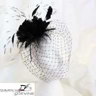 Black veiled fascinator SN699