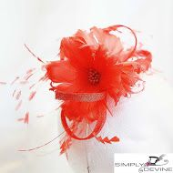 Fiery Orange fascinator NR222