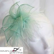 Green Acqua Feather Fascinator on a comb SN512
