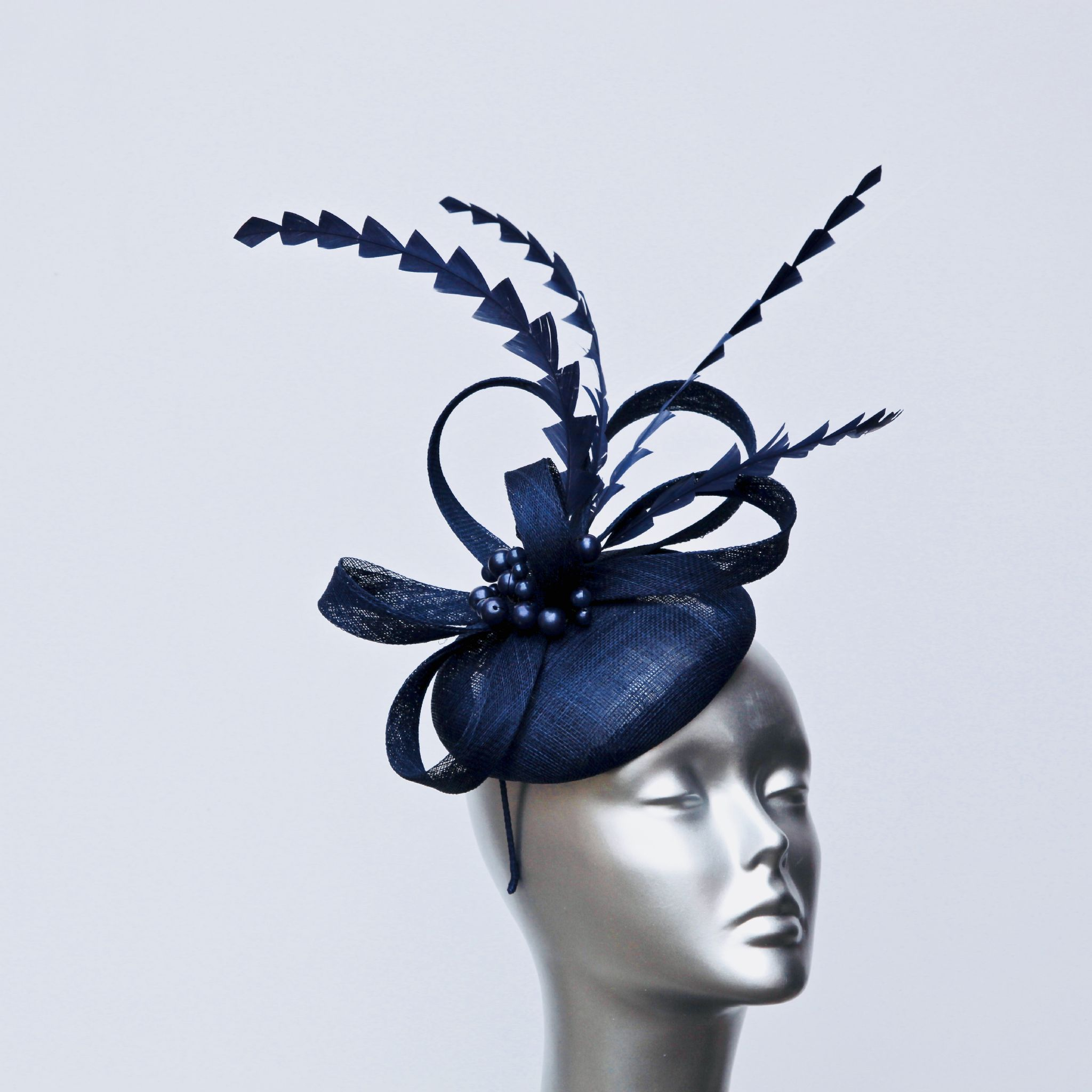 Navy blue feather and pearl ladies  pillbox fascinator 16436 SD266 fe102cd7dbd